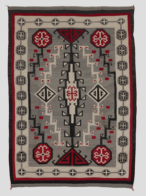 Antique Navajo rug in grey and red