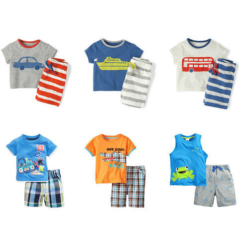 2pc Children Suit Toddler Kids Clothes Short Sleeve Clothing Sets Baby Boys