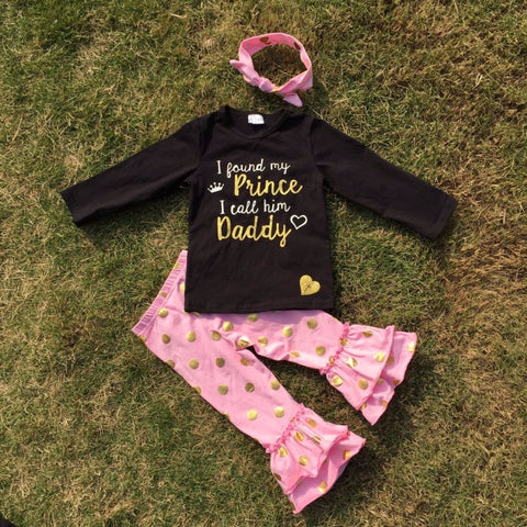 2 pieces I CALL HIM DADDY print long sleeves gold dot  girls clothes sets