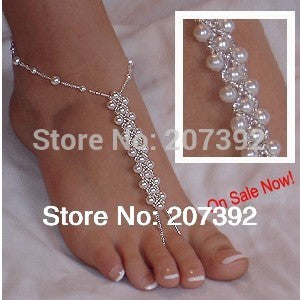 1 single pcs (not a pair ) pearl beads anklet  foot jewelry for beach wedding gift homewear yoga