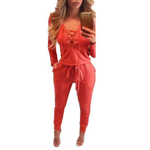 Autumn Women Overalls Brand Bandage Jumper Rompers Jumpsuit Pants Full Sleeve Lady Playsuit Lace Up Track