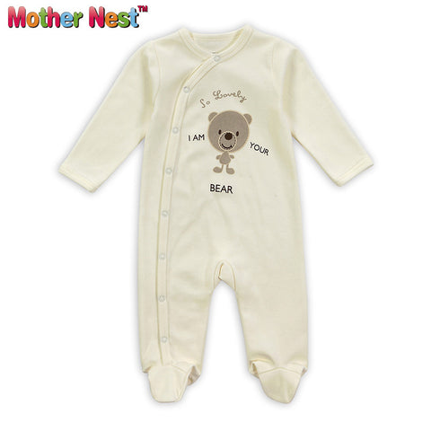 100% Cotton,Baby Pajamas Boys Girls,Infant Footies 0-12Moths,Cute Bear Bebe  Sleepwear in Spring & Autumn