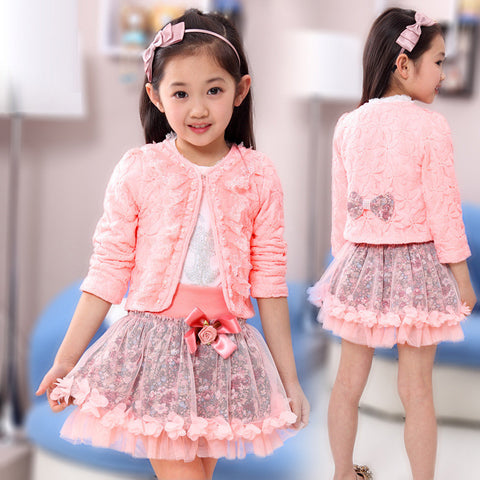 3 piece Princess lace ruffle cardigan tops tutu skirts suits