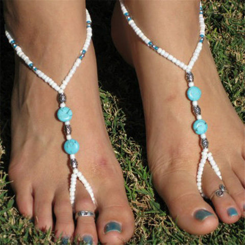 Turquoise Beads Beaded stretch Barefoot Sandal Foot Jewelry Anklet Chain