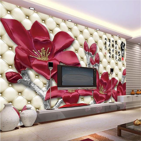 3d eco-friendly wallpaper flower mural single piece price per roll