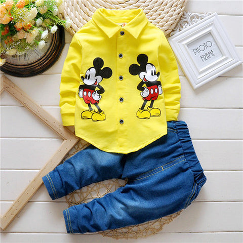 2pcs jacket denim two sets of minnie mouse jeans
