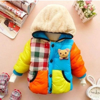 Children Outerwear Hooded Coat Boys Girls Fall Winter Cotton-Padded Warm Jacket
