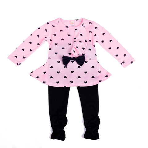 2 Pcs Fall Winter Baby Girl Kids Bowknot Long Sleeve Top Shirt Dress + Pants Set Outfit Clothes