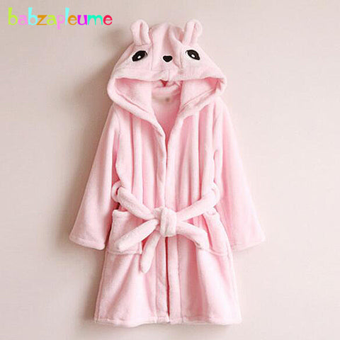 Soft Flannel Cute Baby Girl Hooded Toddler Bathrobe Children Clothes