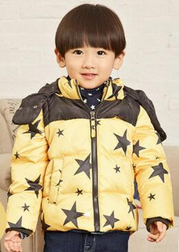 4 colors to choose from Boys Girls Star Print Kids Hooded Coat Winter Baby Clothes for 2-7 Years