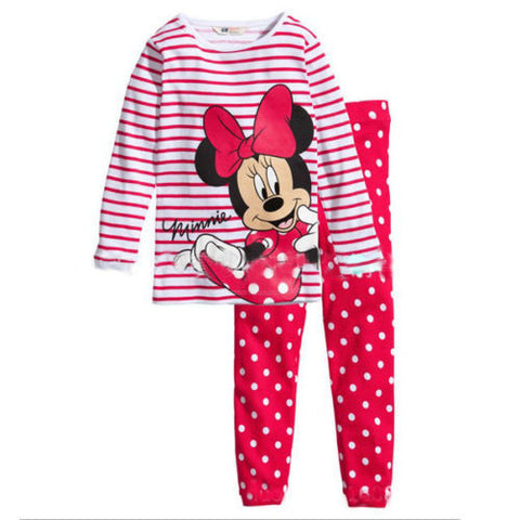 2 pcs sleepwear long sleeve cartoon pajamas Summer Style