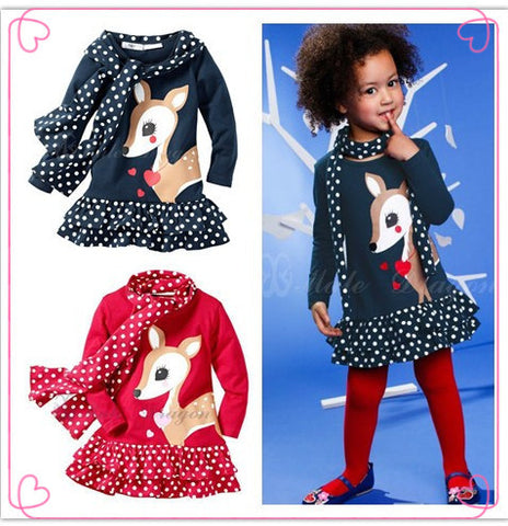 2pcs set deer polka dots dress+scarf autumn children suit