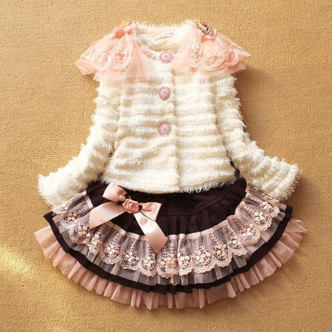 2 pcs set coat+skirt princess fashion suit kids wearing 3-8Y