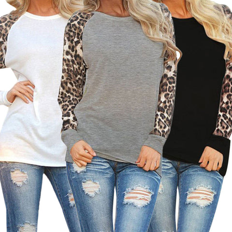 Leopard Print Chiffon Casual Long Sleeve Lady Tops Shirt