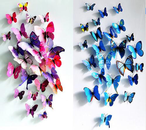 12 Pcs/Lot PVC 3D DIY Butterfly Wall Stickers