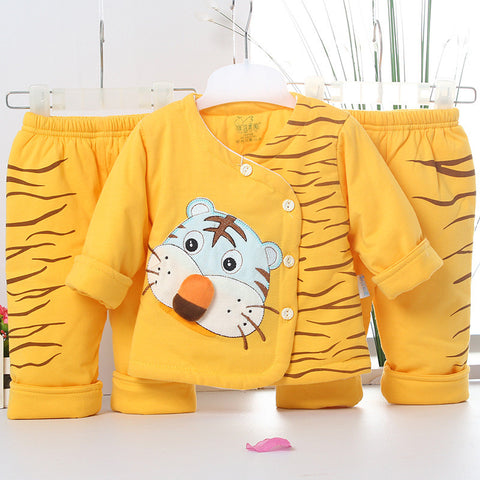 Thick Cotton-Padded Clothes Boys Girls tiger stripe Coat+pants 3pcs