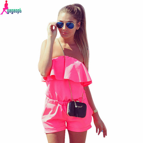 Jumpsuit Strapless Solid Candy Color Summer Shorts Free Shipping