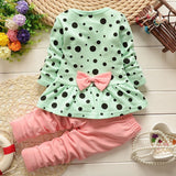Baby Kids Girls Clothing set Minnie Dot Long Sleeve Tops Pants 2pcs Outfits 2~6Y baby Winter Cloth