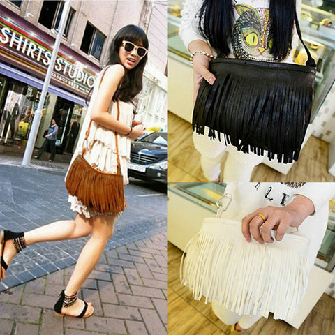 Tassel Suede Fringe Shoulder Messenger Cross Body Bag Ladies Mini Small Casual PU Leather bags