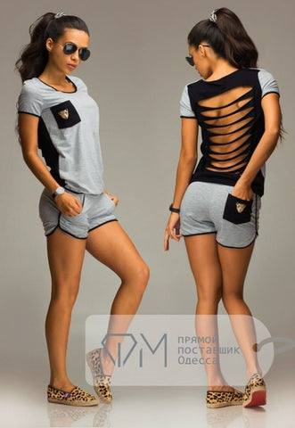 Sexy Hollow Out Tiger Head Pockets T-shirt Casual 2 Piece Set Tee+Shorts