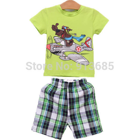 2-7Y Kids Baby Boys 2Pcs Clothes Set Short Blouse T-Shirt + Pants Outfit