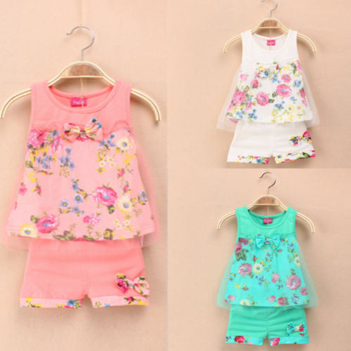 1-5 ages girls lace floral bowknot vest + shorts 2 pic clothing suits girls