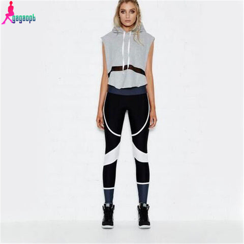 Hooded Sleeveless Splice tracksuit Long Pants Pullover Tops Womens set Sport Suits