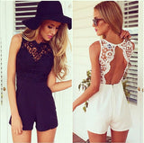 Women's  jumpsuit With Lace Patchwork playsuit Sleeveless shorts coveralls Macacaos J2314