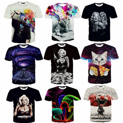 3d men's tshirt summer novelty 3D feminina psychedelic tee shirts clothes