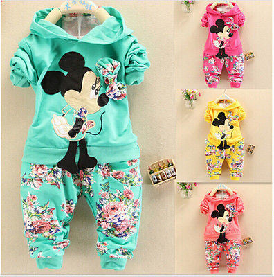Baby Girls Kids Minnie Tops Hoodies Pants Outfits Set Childrens Clothes