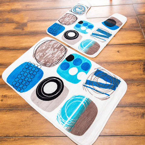 Bathroom  Non-Slip Toilet Floor Mats Sets Memory Foam Rugs Two Pieces