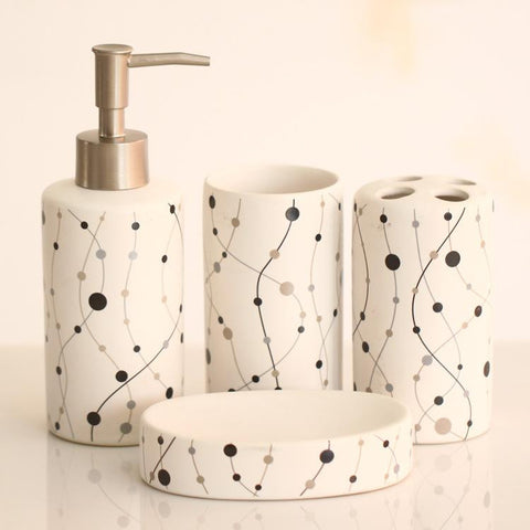 4 pcs accessories set Sanitary Liquid bottle cup Soap dispenser Toothbrush holder