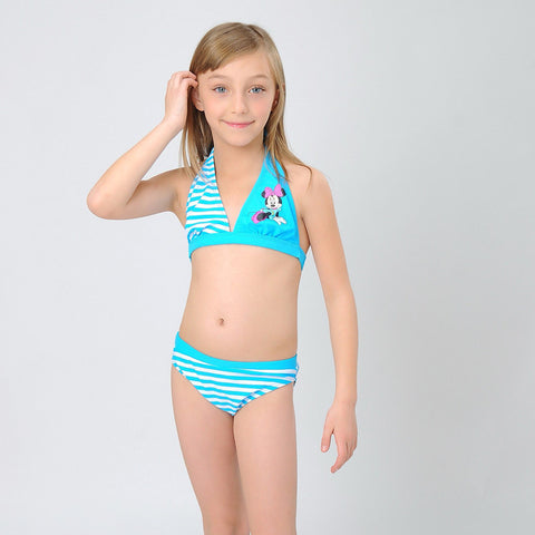 (1set/lot)New Fashion Lovely Cartoon Summer Bikini Set Kids 2016 Girls Swimwear Nice Backless Swimsuit For 2-11Y Girls