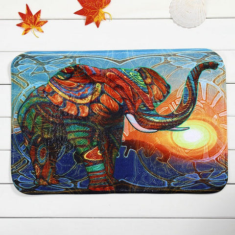 Colorful Cat Elephant Non-slip Bathroom Bedroom Kitchen Soft Rug Doormat