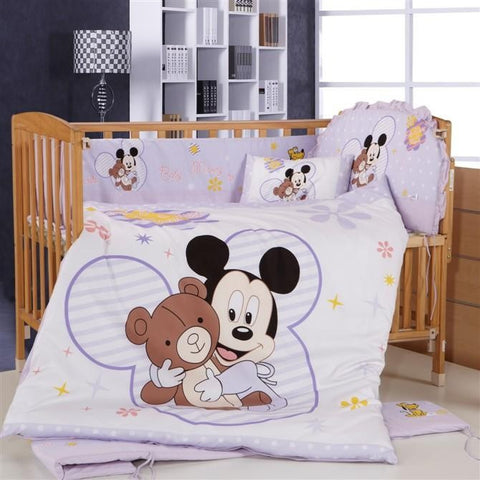 Promotion! 8PCS Mickey Mouse Crib Bedding Set Animals,Good New Cotton Baby Bedding Bumper Set