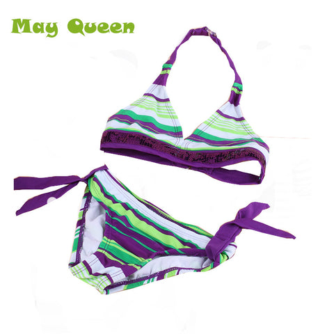 Beach Striped Girls Swimsuit Fashion Bikini Bra Tops+Brief Tow Piece Kids Swimwear T15