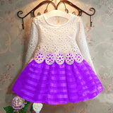 3-8Y  Lace Dress Long Sleeve Princess Dress Girls Clothes 3COLORS