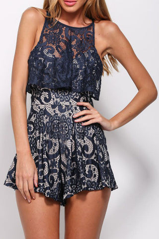 summer style Navy Sleeveless Flounce Lace Playsuit LC60145 rompers womens jumpsuit sexy jumpsuit