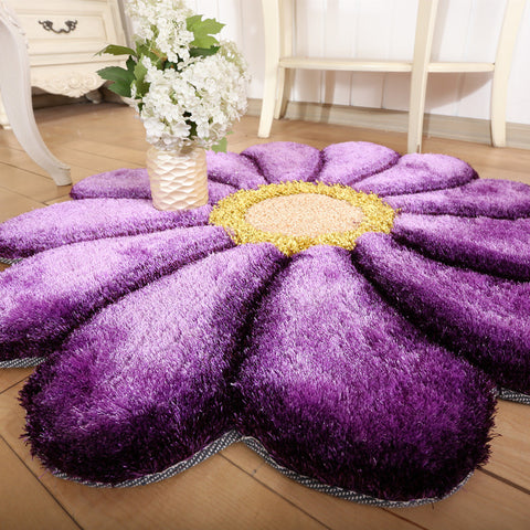 3D Flower Round Carpet Rug
