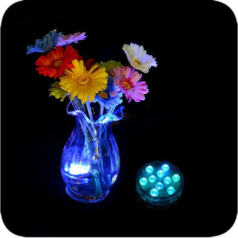 10 LED Multicolor Submersible Waterproof Party Floralytes Vase Base Light Lamp Blub Remote Hot