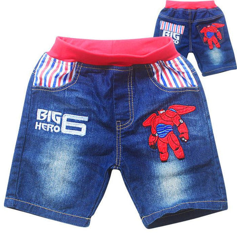 Cartoon Jeans Children Boys Clothes Summer Denim Pant Embroidered Washing Soft denim Short