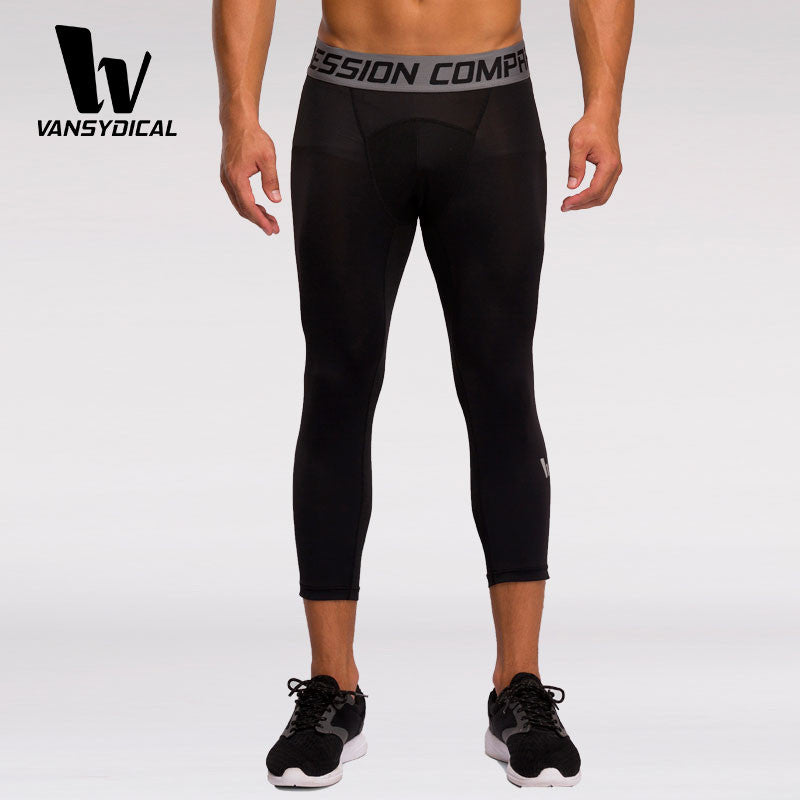 Men's Compression Fitness Joggers Pants Running Leggings Workout Gym Tights