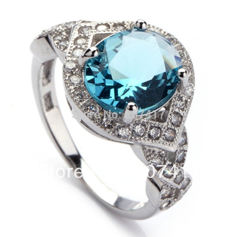 Fashion Dark Blue crystal Micro inlays jewelry 925 Silver RING Classic R3163 sz# 7 8 9
