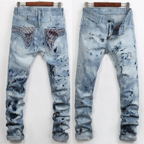 European Light Denim Pants Printing Wings Straight Mid-rise Casual Trousers For Man YN243