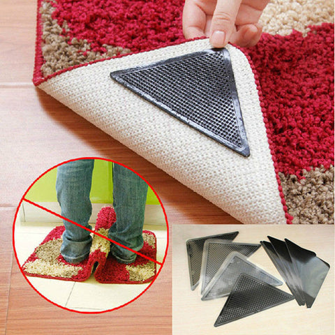 4 pcs Rug Carpet Mat Non Slip Skid  Reusabe Grip Black Color