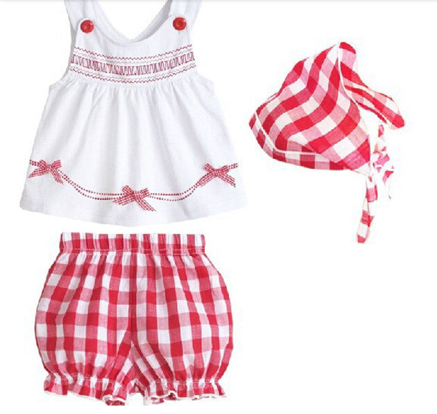 Kids Tollders Girls Costume 3pcs Set Sleeveless Tops+Shorts+Scarf Outfits 1-3Y Free&DropShipping