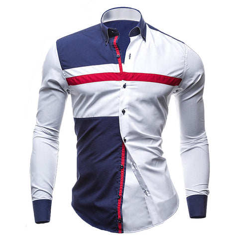 Color Patchwork Long Sleeve Slim Fit Formal Dress Shirt Casual Male Tops Camisas