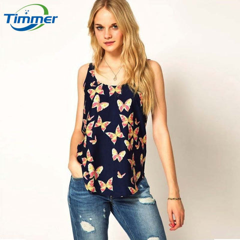 Butterfly Print Sleeveless Chiffon Tank Top