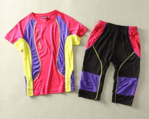 female hiking mountaineering shirt & shorts quick dry breathable jogging sets