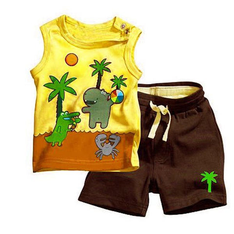 2pc Kids Baby Boy Coconut Tree Pattern outfit